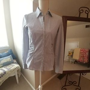 NY & Co Fitted Pinstripe Button Down Blouse